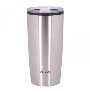 Taza de café con doble pared de acero inoxidable, 20 oz de plata